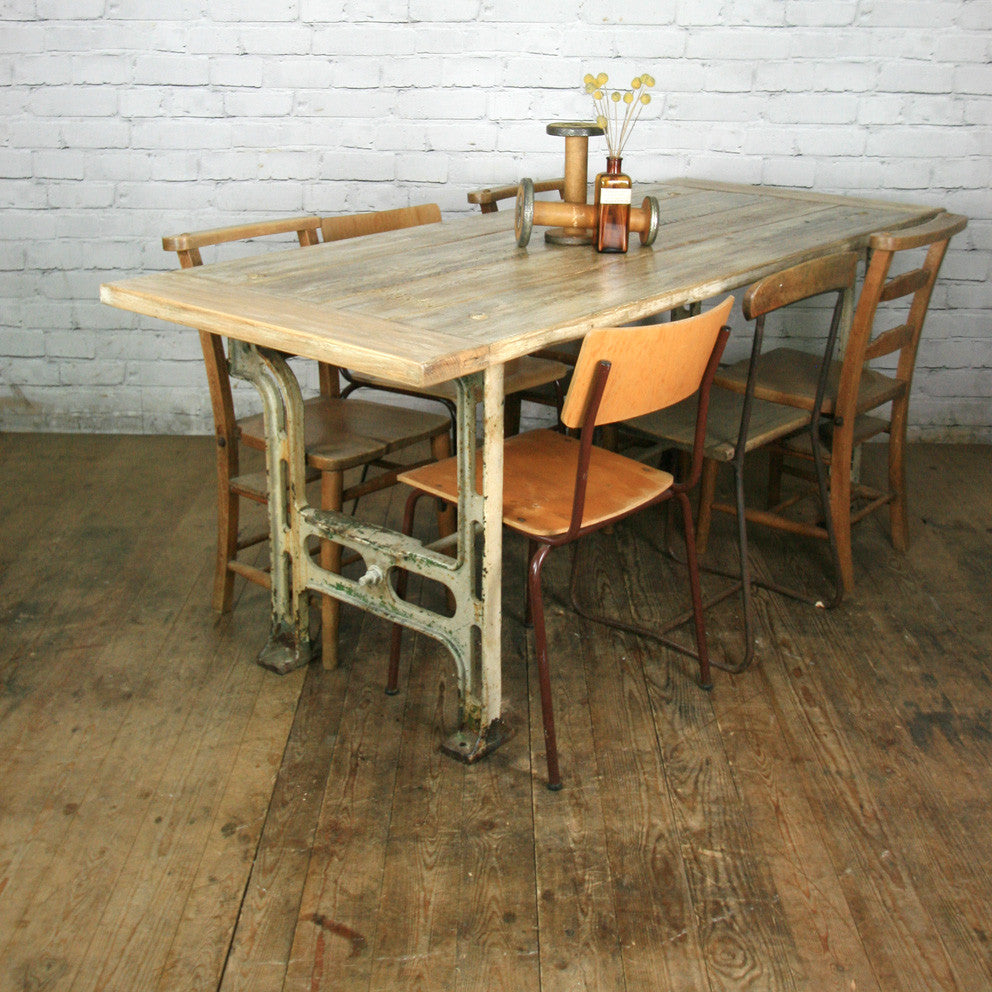 reclaimed cast iron industrial dining table retail shop