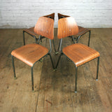 A Set of Two (2) Vintage Industrial Danish Teak School Stacking Chairs