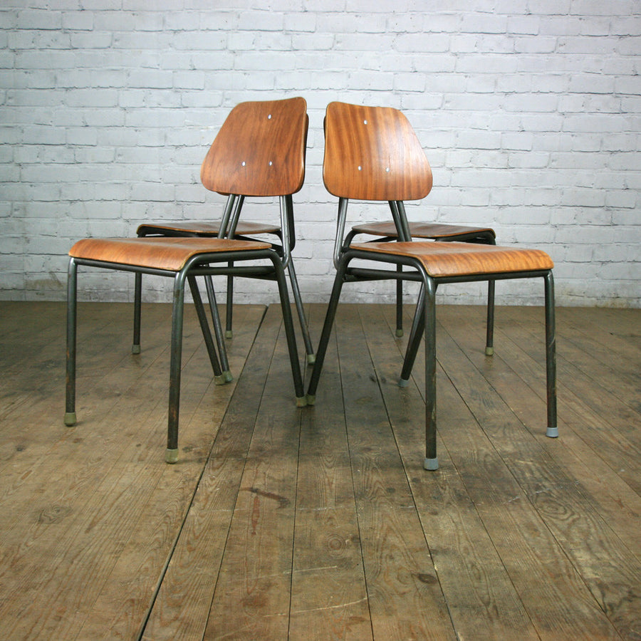 A Set of Six (6) Vintage Industrial Danish Teak School Stacking Chairs