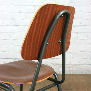 A Set of Four (4) Vintage Industrial Danish Teak School Stacking Chairs