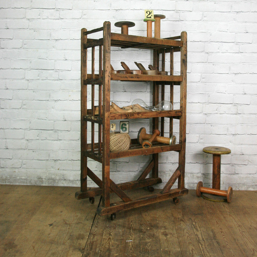 Vintage Industrial Wooden Shoe Factory Rack Trolley #3 – Retail Shop Display