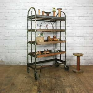 THREE (3) x Vintage Industrial Factory Shoe Rack Trolley #1 – Retail Shop Display
