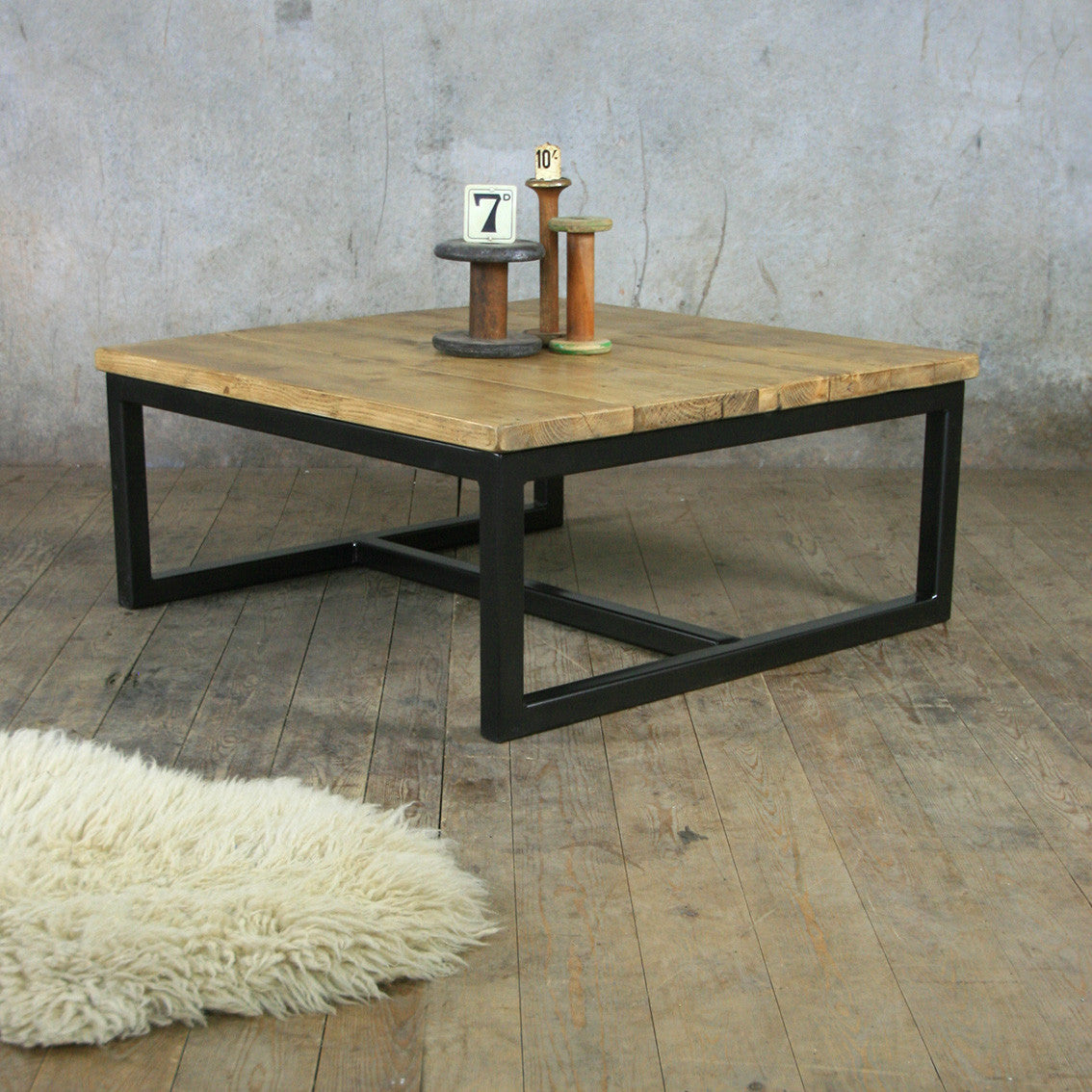 The Harnall Square Rustic Coffee Table In Stock Mustard Vintage