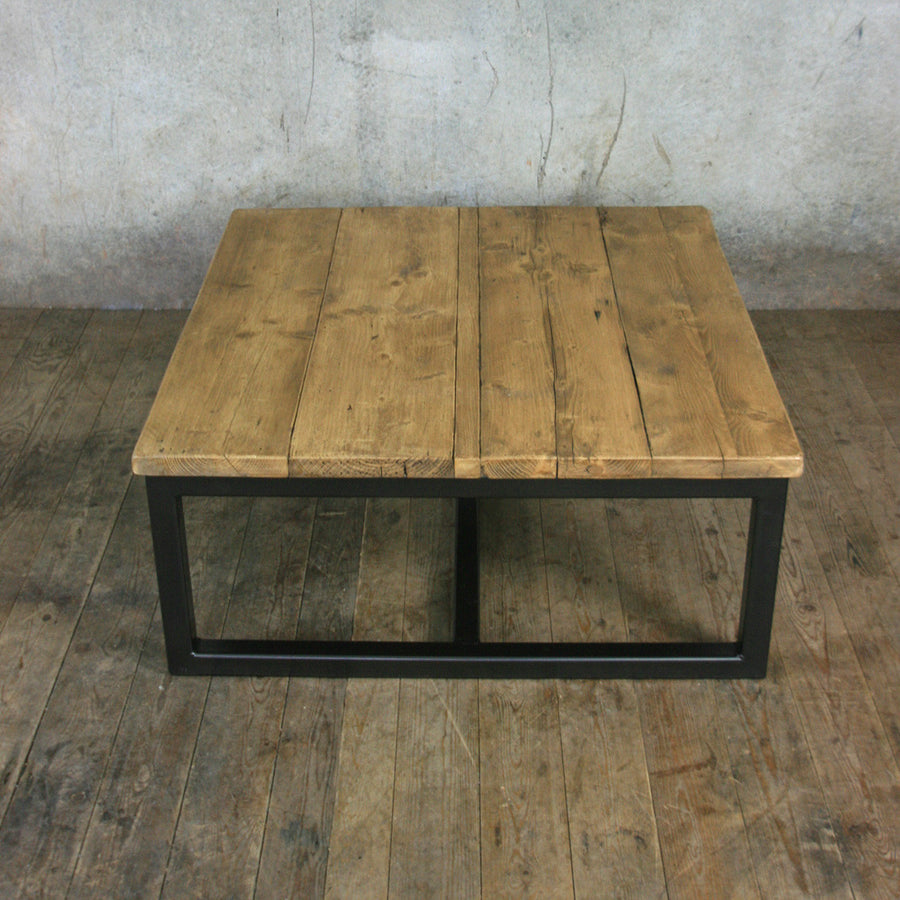 'The Harnall' Square Rustic Coffee Table - In stock