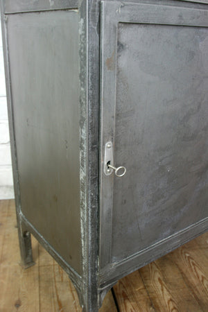 Vintage Industrial Steel Glazed Medical Cabinet