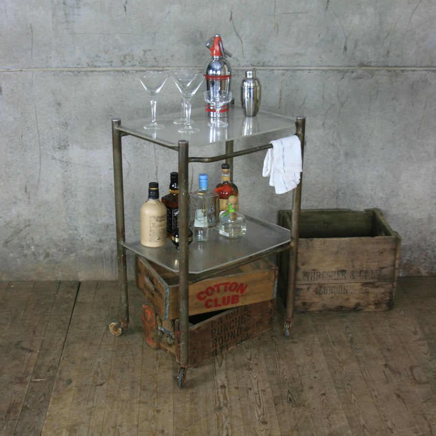 Vintage Industrial Medical Trolley / Drinks Bar Cart