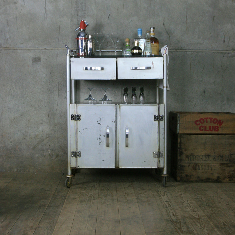 Vintage Industrial Medical Trolley / Bathroom Cabinet / Drinks Bar Cart