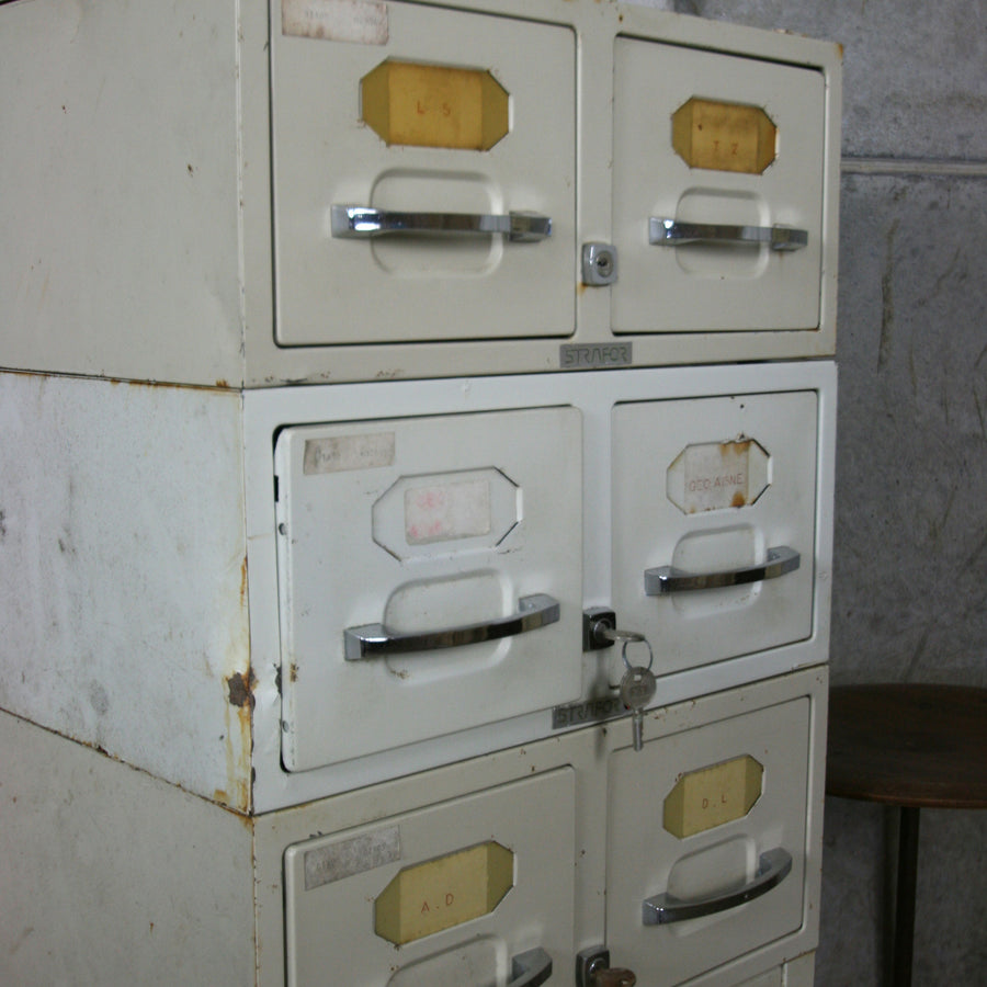 Vintage Industrial French Medical Index Cabinet