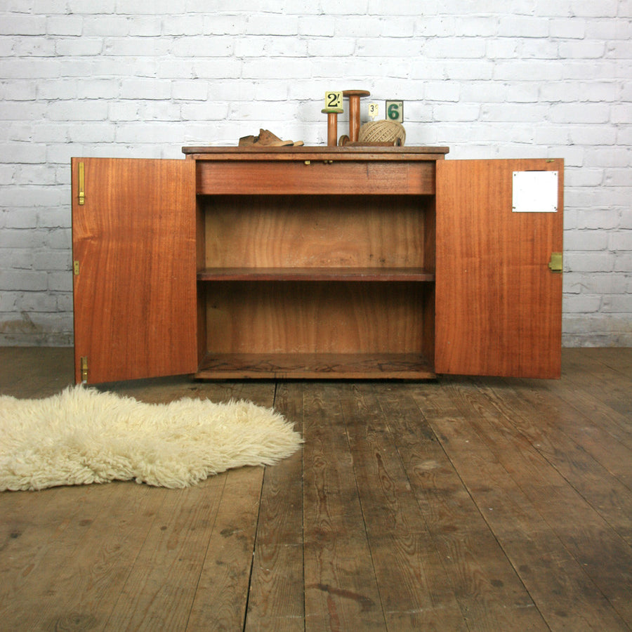 Vintage Industrial Iroko School Plan Chest / Kitchen Island