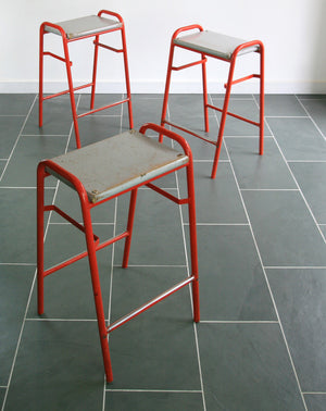 Set of 8 Red Vintage School Laboratory Stacking Stools