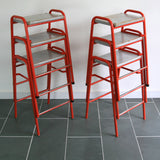 2 x Red Vintage School Laboratory Stacking Stools