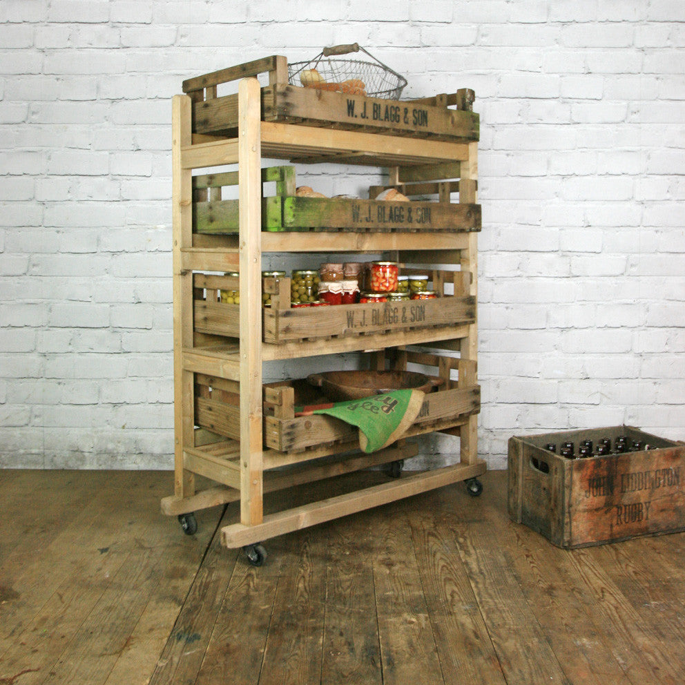 Rustic Shoe Trolley Shelving - Retail Shop Display