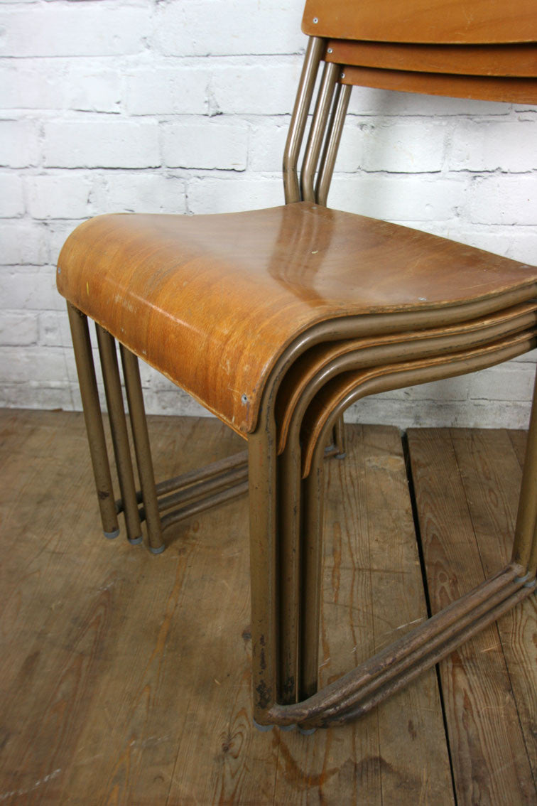 4 Vintage Tubular Steel & Bent Ply Stacking Chair – Lots Available