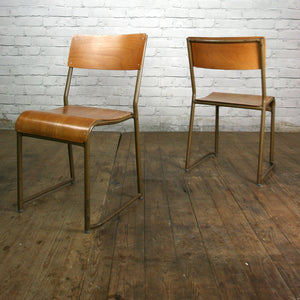 1 Vintage Tubular Steel & Bent Ply Stacking Chair – Lots Available