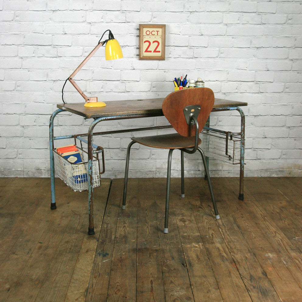 Shop Table: Vintage Industrial School Desk Shop/Retail Display Table