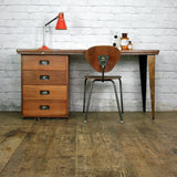 Vintage Industrial Reclaimed Iroko School Desk #2
