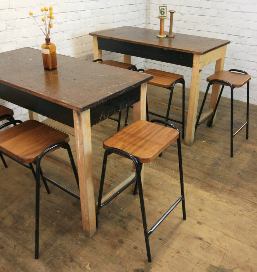 Vintage Industrial School Laboratory Table