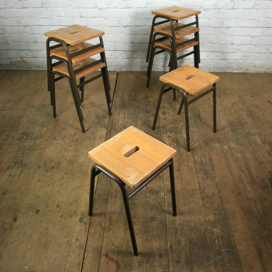 Low Beech Vintage Stacking Stools with dark brown bases x 1 (4 available)