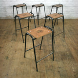 Copy of A Set of Thirty (30) Reclaimed School Lab Stacking Stools