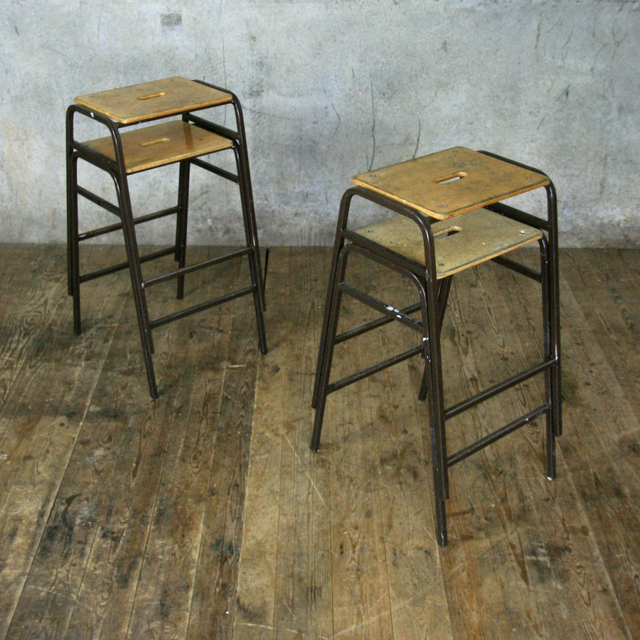 X4 Vintage School Laboratory Stacking Stools (set of four)