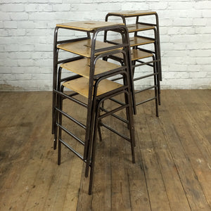 8 Vintage School Laboratory Stacking Bar Stools