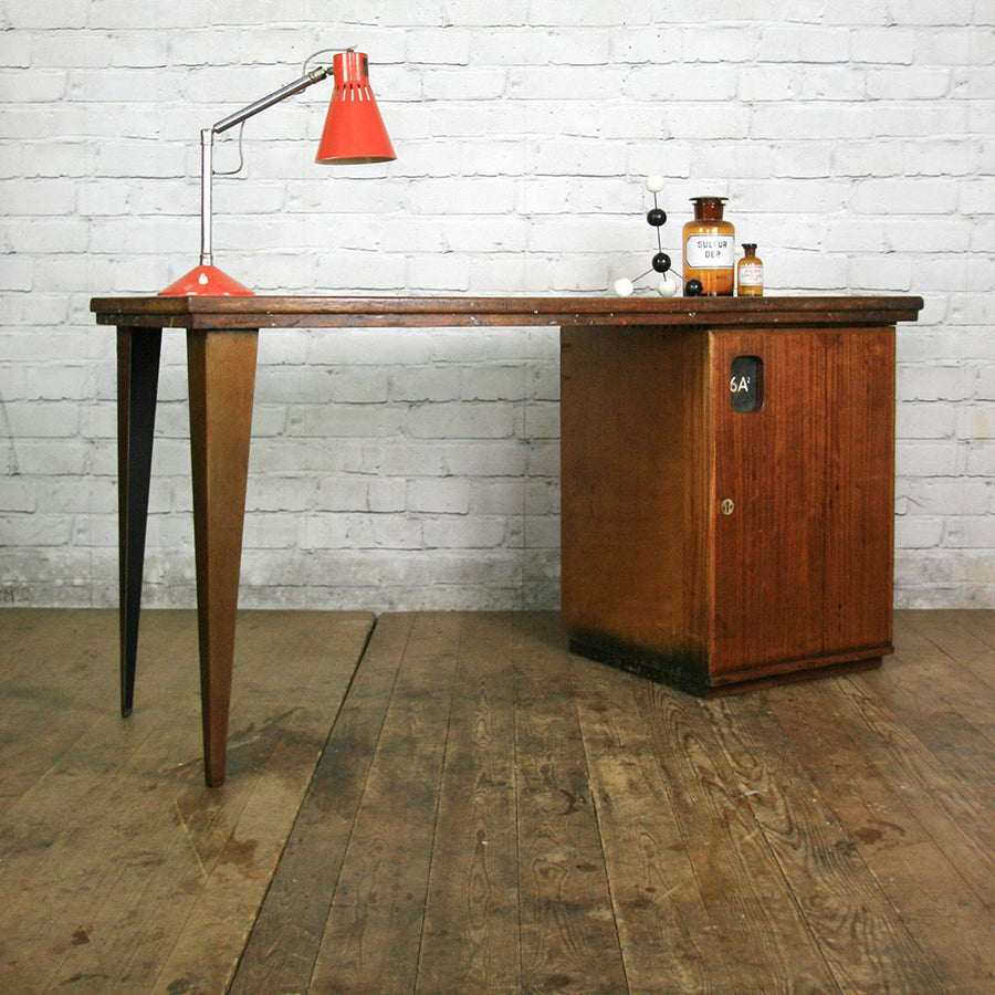 Vintage Industrial Reclaimed Iroko School Desk