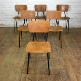 6 Vintage French Industrial School Stacking Chairs
