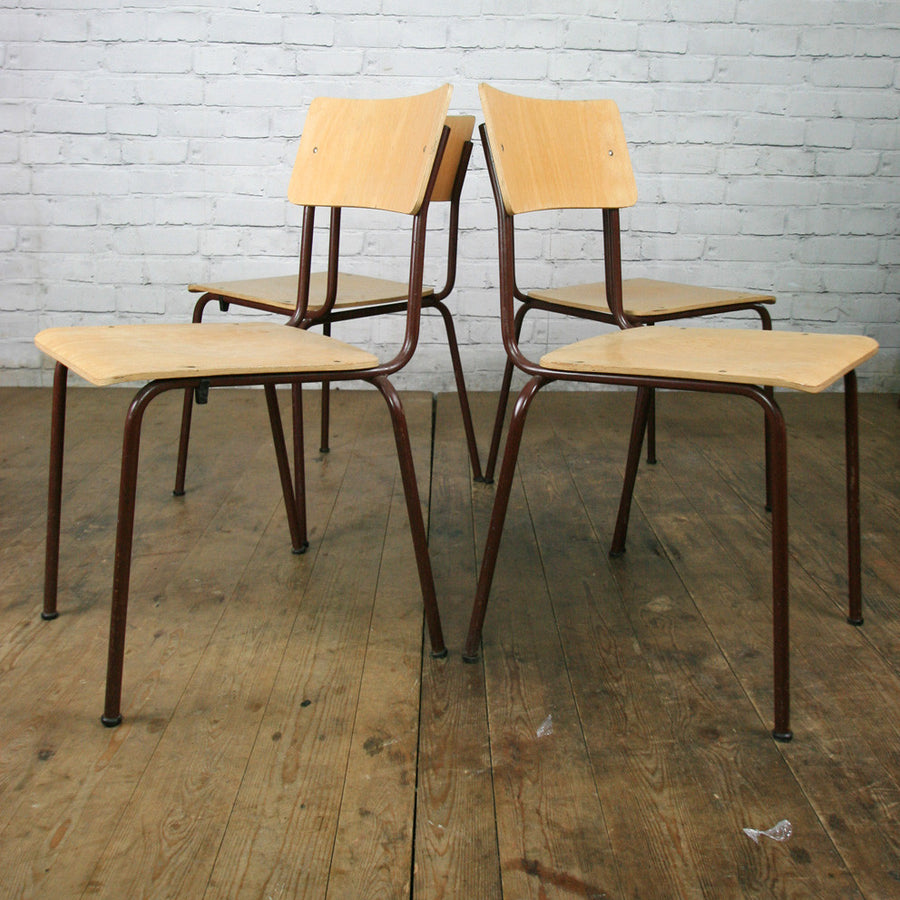 Vintage Industrial School Stacking Chairs - Burgundy & Beech