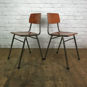 6 Vintage Industrial Teak School Stacking Chairs