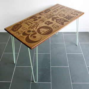 *LIMITED EDITION* The Hairpin 'Taste Delight' - Foodie inspired Iroko Desk / Table