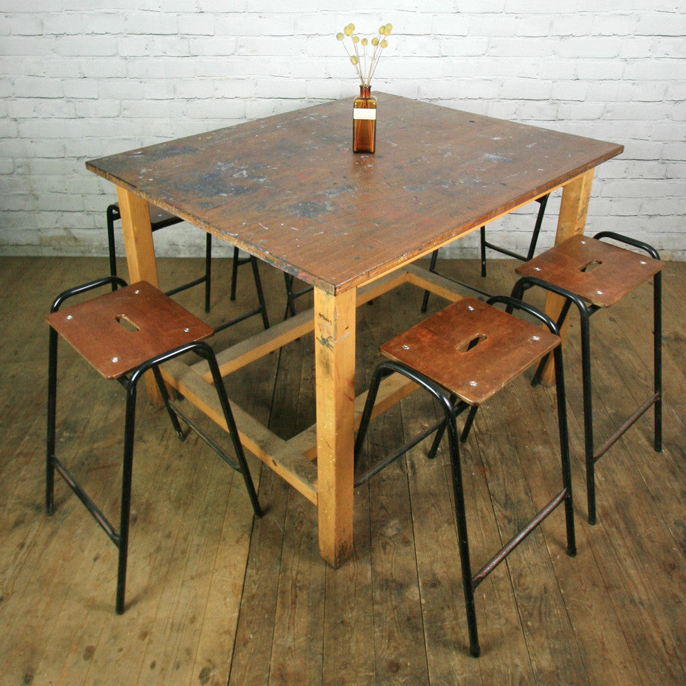 Large Vintage Iroko School Art Laboratory Table x 1 (6 available)