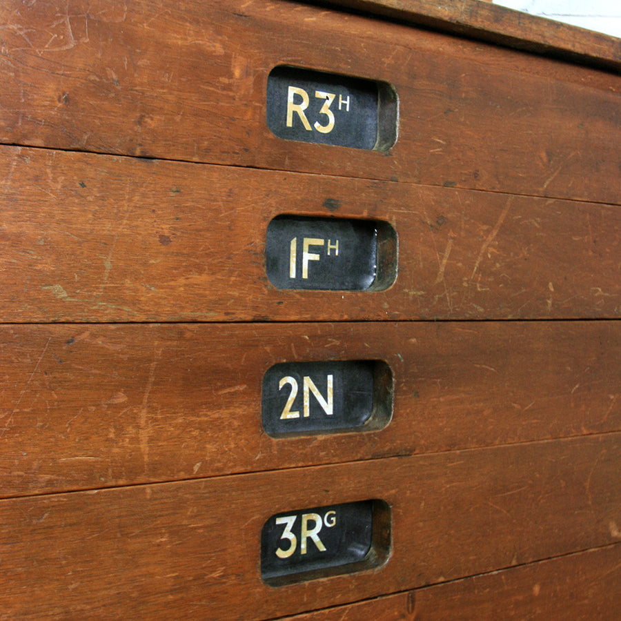 Vintage Industrial Iroko School Plan Chest