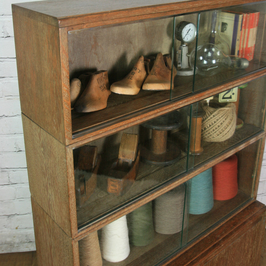Vintage Limed Oak Sectional Bookcase / Shop Display Cabinet