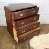 Antique Victorian Mahogany Military Campaign Chest