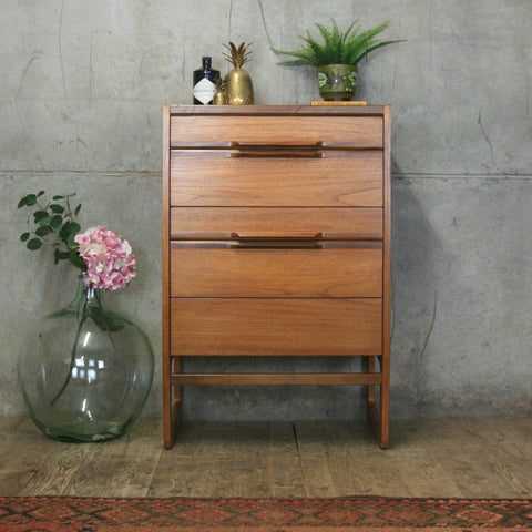 Mid Century Meredew Teak Tallboy / Chest of Drawers #0911