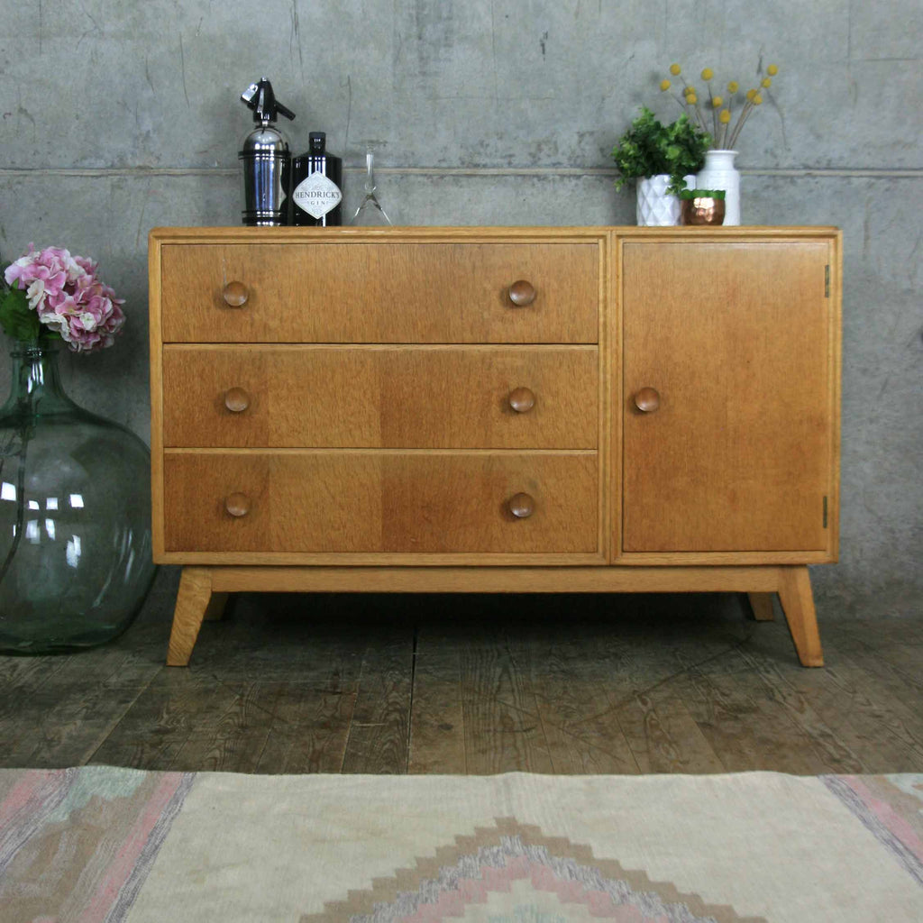 mid century oak petite sideboard mustard vintage. Black Bedroom Furniture Sets. Home Design Ideas