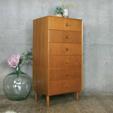 Mid Century Oak Chest of Drawers Tallboy