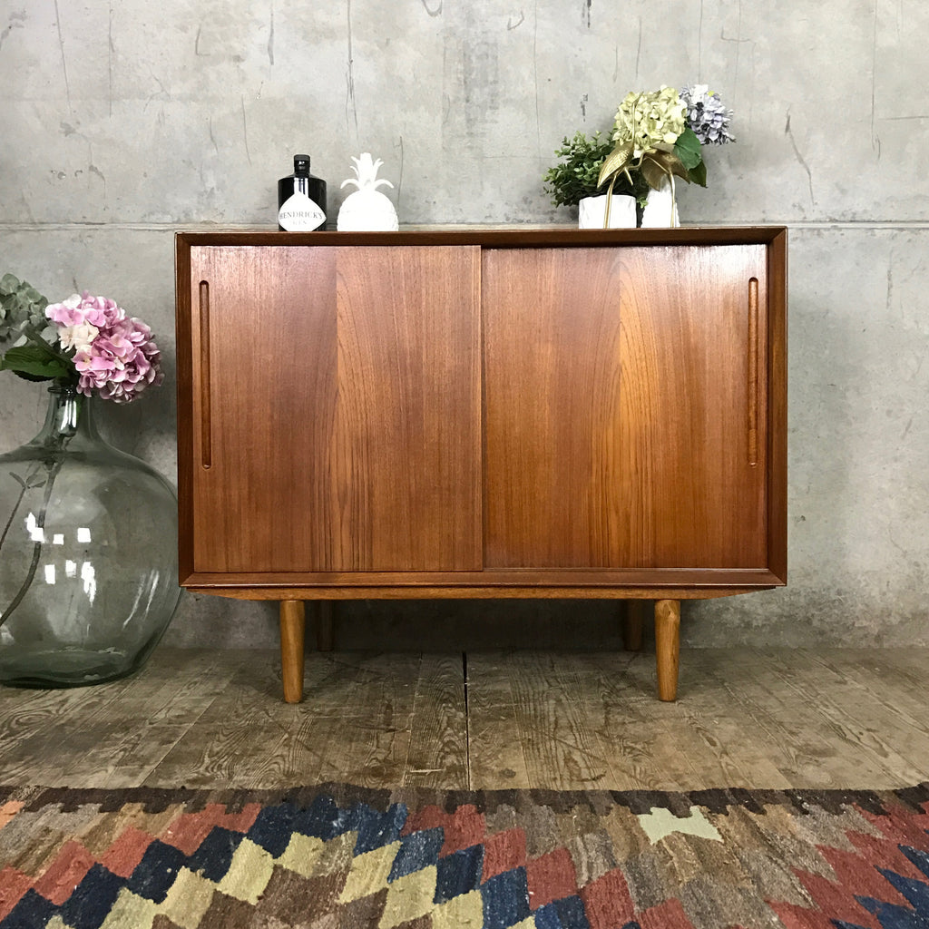 unit sideboard danish mustard door sliding teak media vintage mid cabinet products century