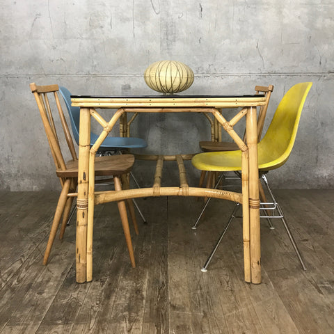 Mid Century Boho Tiki Bamboo Dining Table
