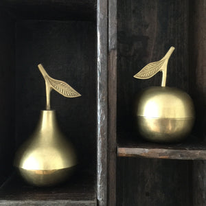 Vintage Brass Apple & Pear Trinket Boxes