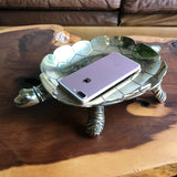 Large Vintage Heavy Brass Turtle Bowl