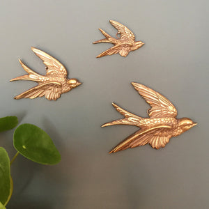 Brass Mid Century Flying Swallows #SET2