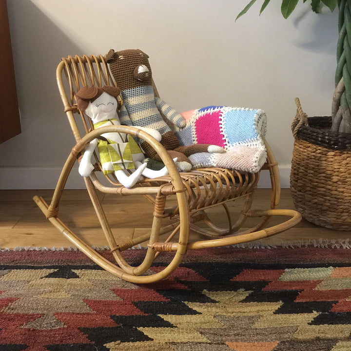 Vintage Mid Century Boho Bamboo *Child Sized* Rocking Chair