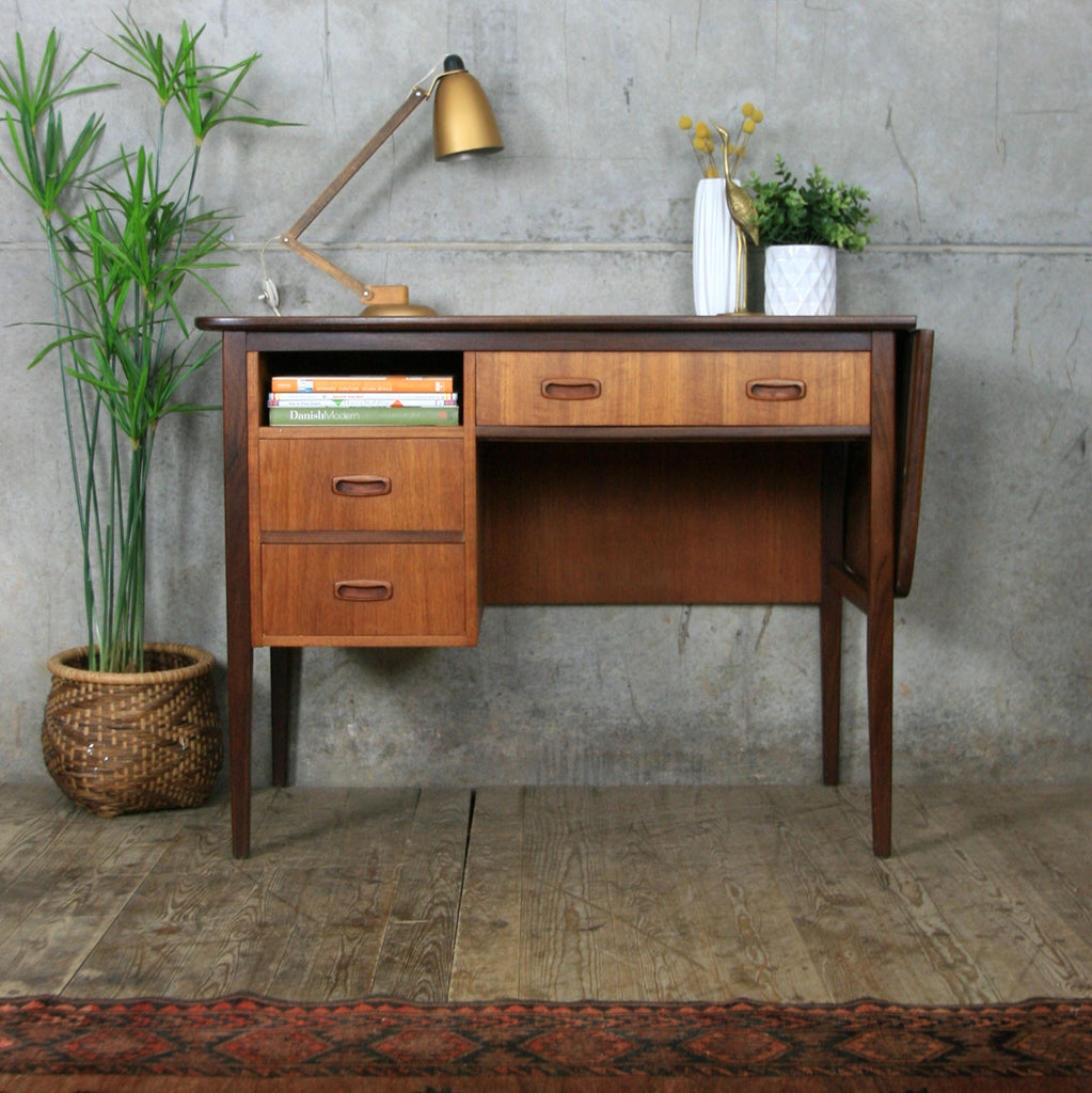 danish shop teak desk mid century pedlars