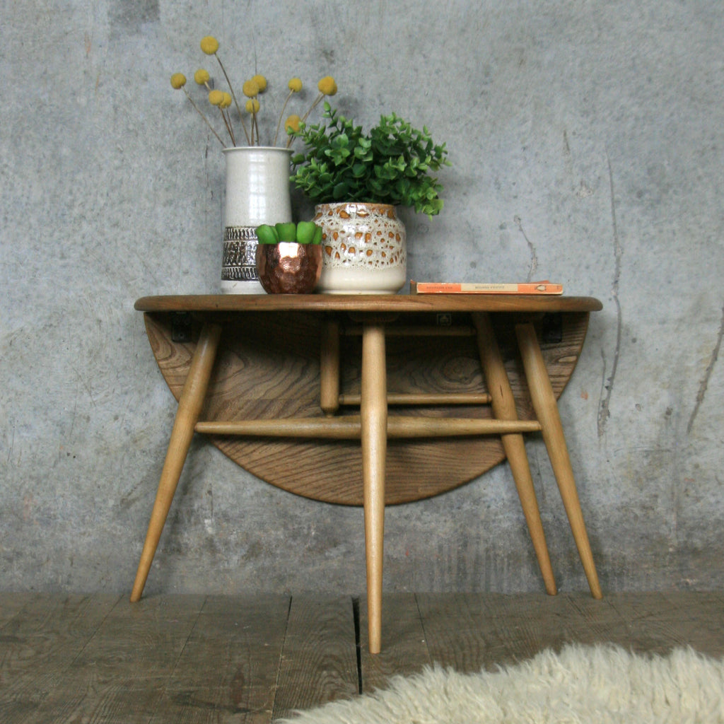 Ercol Mid Century Drop Leaf Coffee Table Mustard Vintage