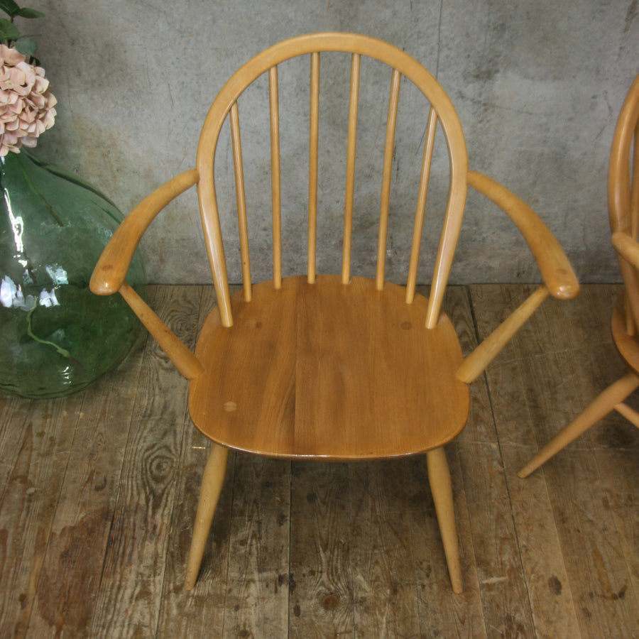 Pair of Ercol Windsor Carver Chairs #2103j