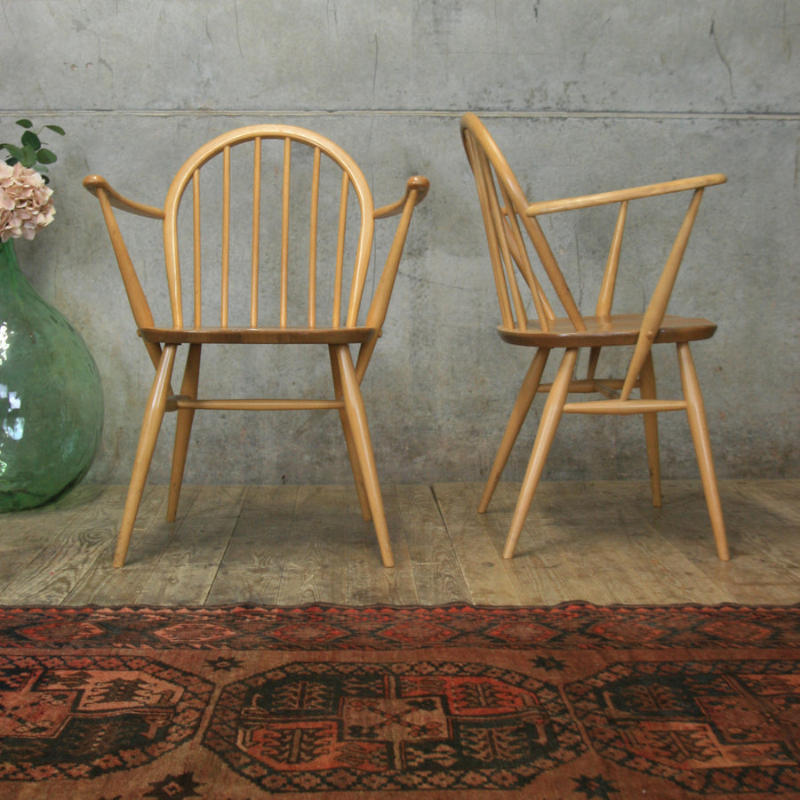 Pair of Ercol Windsor Carver Chairs #2103i