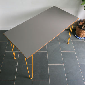 Reclaimed Hairpin Desk / Table - Grey Top/Yellow Legs