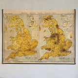 Vintage Industrial Map Chart of Great Britain