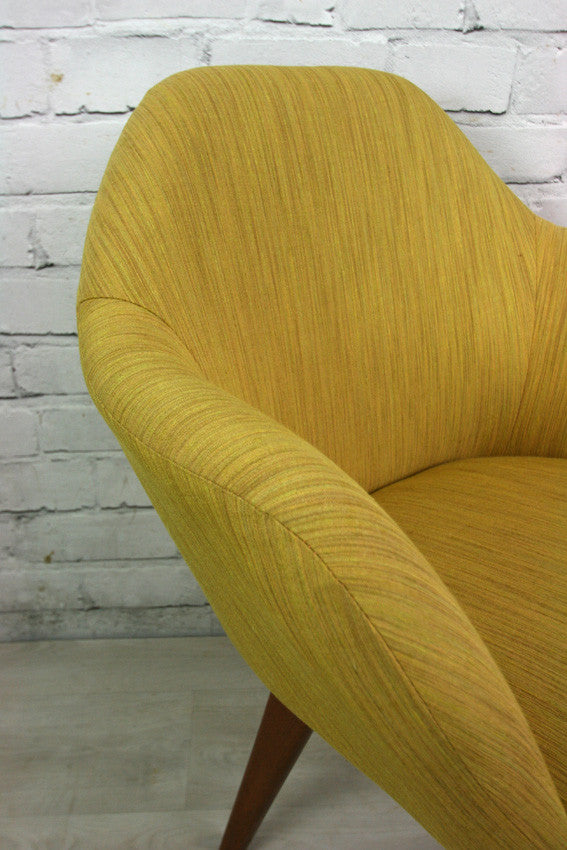 Mid Century Vintage Mustard Club Cocktail Chair